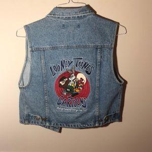 Vintage Looney Toons S Denim Jacket Vest